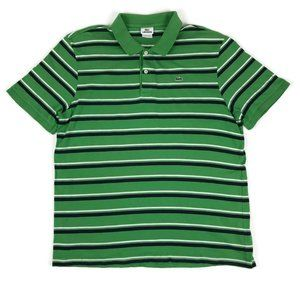 Lacoste Green Striped Polo Shirt Mens Size 8